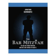 Bar Mitzvah Movie Star Reply Card in Blue, Black Custom Invitations