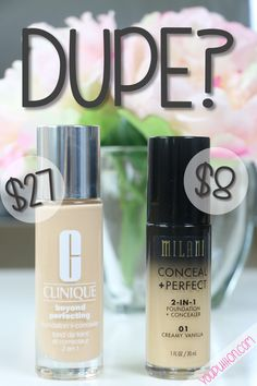 Dupe? Milani Conceal + Perfect vs. Clinique Beyond Perfecting Foundation                                                                                                                                                     More