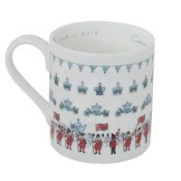 Remember a very special Coronation year with this delicate and tasteful fine bone china mug created by British designer Sophie Allport. The mug features Sophie's illustrations of Royal crowns, bunting, carriages and a grand procession. The Queen's carriage is flanked by horses and soldiers, and her Corgies also make an appearance. www.sophieallport.com
