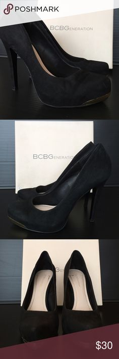 BCBGeneration Black Suede Parade Platform Pumps Black suede Parade platform pumps with a touch of gold hardware accent at the tip of each pump. Heel height 4.5 inches, platform height 1 inch. Fit true to size. Box not included. Shoes Platforms