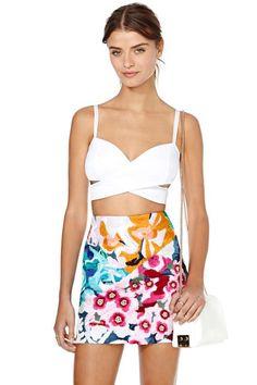 Shakuhachi Flower Bomb Embroidered Skirt