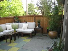 Superior Patio Oasis, Small Townhouse Backyard Turned Into An Outdoor Living Space  Using Custom Stained Cement