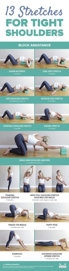 13 Easy Stretches to Fix Your Tight Shoulders <br> Here are 13 of my favorite shoulder stretches that you can use to create length, relief, and increased mobility in the shoulders. Yoga Fitness, Physical Fitness, Fitness Workouts, Yin Yoga, Health And Fitness Articles, Health Fitness, Women's Health, Fitness Diet, Yoga Inspiration