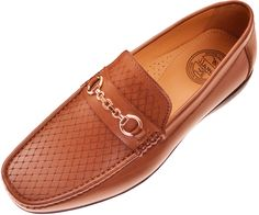 Amali Mens Tan Classic Woven Embossed Smooth Loafer Driving Moccasin with Gold Chain Ornament : Style Perry-028 SyntheticImportedSynthetic soleAmali Presents Style Perry: Tan Classic Woven Embossed Smooth Slip On Driving Moccasin with Gold Chain Ornament!This Classic Style Driving Moccasin features a Full Cushioned Sole is a Sleek addition to any outfit!Slip your feet into a …