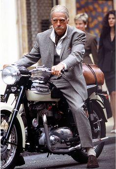 Jeremy Irons on his Triumph