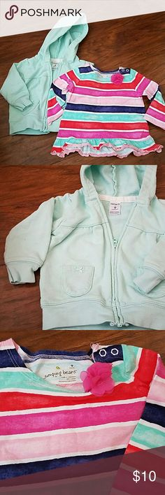 9 month girl top and hoodie Brand new, washed unworn. 9 month striped longsleeve top, bright and pretty with flower. Zip up mint green carter's hoodie. Cute bow tie detail on front pockets. Shirts & Tops