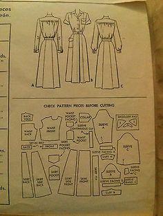 2b517683544 RARE Vintage Nurses' Uniform Pattern ca.1948-McCalls7517-Size16-UNCUT!