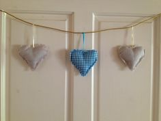 String of hearts.beige and blue gingham Blue Gingham, Paisley, Hearts, Beige, Drop Earrings, Crafty, Knitting, Crochet, Summer