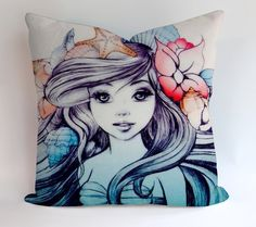 Little Mermaid Painting Pillowcases Pillow Cases Covers Square Design Home Decoration