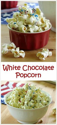 White chocolate popcorn with pops of dried cherries and festive sprinkles is an easy-to-make, crowd-pleasing treat for a special occasion…or your next family movie night!