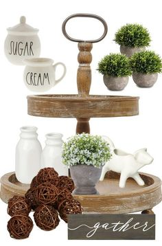 5 Essential Items You Need to Style a Farmhouse Tiered Tray In this post, you'll find the must-have decor items you'll need to create that perfect farmhouse vignette for your kitchen or living room. The items listed in this post are budget-frien… Farmhouse Kitchen Tables, Country Farmhouse Decor, Modern Farmhouse Kitchens, Home Decor Kitchen, Decorating Kitchen, Decorating Ideas, Decor Ideas, Farmhouse Style, Kitchen Ideas