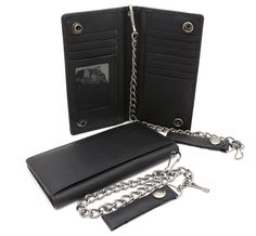 Bifold Black Genuine Leather Checkbook Holder Snap Button Wallet with a Chain * Check out this great product. (This is an Amazon Affiliate link and I receive a commission for the sales)
