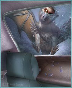 Bat winged monkey bird- British cryptid: a winged creature witnessed by a Jackie Hartley, 3 times. She described it as having a monkey like body with bat wings and a parrot like beak.