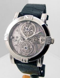 Corum La Mysterieuse Tourbillon in 950 Platinum chronograph platinum case with leather bracelet and manual winding
