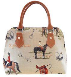 English Horse Tapestry Convertible Handbag