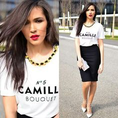 Get inspired : tshirt & pencil skirt