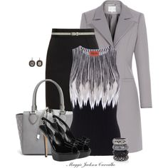 A fashion look from February 2014 featuring striped top, woolen coat and pocket skirt. Browse and shop related looks. Business Attire, Business Fashion, Work Fashion, Fashion Outfits, Diva Fashion, Classy Fashion, Classy Outfits, Cute Outfits, Mode Collage