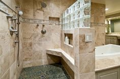 Master bath. Like the concept of not having to clean a whole shower with this design. Not sure you would get the same kind of heat out of your shower though.