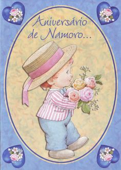 A boy with a bouquet of roses Postcard by Ruth Morehead