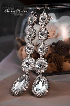 """Серьги """"Palladium"""" длинные серебряные с кристаллами Сваровски. Handmade."""
