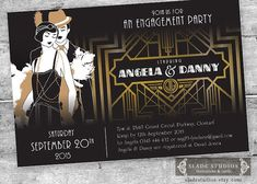 Great Gatsby Engagement Party Invitations. Movie poster style printable Art Deco party invitations.