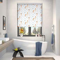 beautiful hand painted fish swim merrily upstream upon the splash koi pool blue roller blind best blinds for bathroom r28 bathroom