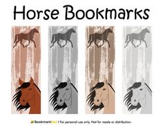 Free printable horse bookmarks. Download the PDF template at http://bookmarkbee.com/bookmark/horse/