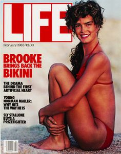 """February 1983 - """"Brooke Shields Brings Back the Bikini"""" (I have this cover in my actual Magazine Cover collection!)"""