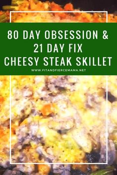 80 Day Obsession & 21 Day Fix Cheesy Steak Skillet! Seared Salmon Recipes, Pan Fried Salmon, Pan Seared Salmon, Fixate Recipes, Meal Recipes, Recipies, Skillet Steak, Skirt Steak Recipes, 80 Day Obsession