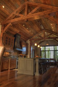 Rustic Kitchen...love the timber truss