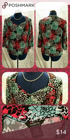 EUC Dressy Stretch Top Black, red, and turquoise floral print 3/4 sleeve stretch top. Perfect for the office or date night! Excellent used condition. George Tops