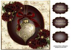 Sumptuous Christmas Velvet Roses & Bauble 8x8 Quick Topper