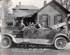 """Car used in a shootout on February 16, 1918 by gang in Colorado Springs. Inscription reads: The inscription reads: """"Car used by Dale Jones, Kansas City Blackie, and Margie Dean in their fight with officers in Colorado Springs on Sept. 13, 1918."""""""