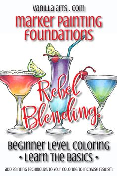 Learn to break the rules! Rebel Blending techniques, online course. Marker Painting Foundations | VanillaArts.com