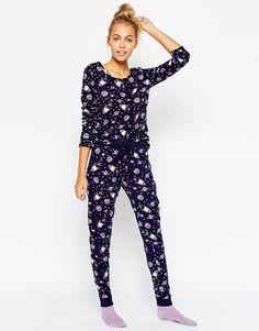 30f4c4d304 ASOS All Over Space Print Tee   Legging Pyjama Set Asos