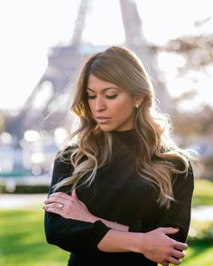 Newly engaged girls usually spend the first minutes after their proposal looking at the rock making their left hand feel just a little heavier! #parisphotographer #parisengagement #photographerinparis  www.theparisphotographer.com
