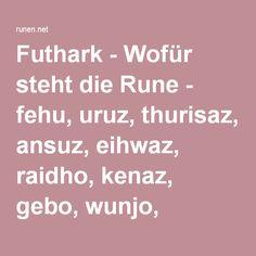 Futhark - Wofür steht die Rune - fehu, uruz, thurisaz, ansuz, eihwaz, raidho, kenaz, gebo, wunjo, hagalaz, naudhiz, isa, jera, perthro, othala, dagaz, ingwaz, laguz, Ehwaz, berkana, tiwaz, mannaz, sowilo, algiz