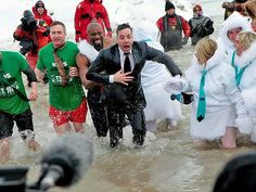 Jimmy Fallon -- Polar Bear Plunge Challenge 2014 #SwimmyFallon :)