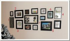 Gallery/collage wall in master bedroom (one day I would love to have these types of things in different areas of my home!)... Very family/couple oriented... I love that this contains links to ideas to make/print/buy too!