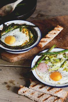 Baked Eggs with Leeks & Asparagus | A Feast for the Eyes