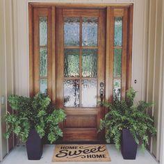 31 Best Spring Porch Sign Decor Ideas & Designs For 2019 ⋆ newport-internati. Porch Doors, Wood Front Doors, Front Door Entrance, House Doors, Front Door Decor, Entry Doors, Privacy Glass Front Door, Front Doors With Windows, Front Door With Glass