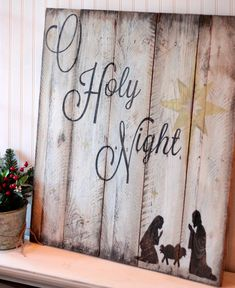 O Holy Night sign on reclaimed pallet wood by 13AceAvenue on Etsy