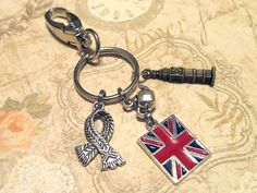 UNITED KINGDOM Keychain with FOUR Charms - Custom Orders Welcome