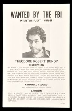 1978 FBI Wanted Poster for Serial Killer Ted Bundy