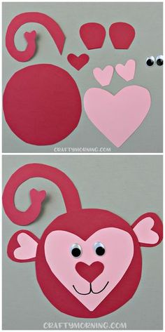 Here's an adorable heart shaped monkey craft for kids! Perfect for a valentines … Here's an adorable heart shaped monkey craft for kids! Perfect for a valentines …,Cleveland Walter Here's an adorable heart shaped. Valentine's Day Crafts For Kids, Valentine Crafts For Kids, Daycare Crafts, Preschool Crafts, Homemade Valentines, Valentine Box, Saint Valentine, Valentine Wreath, Valentine Ideas
