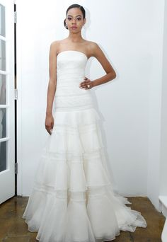 Pamella Roland fitted bodice wedding dress with horizontal tiered skirt from Spring 2016