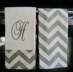 Monogrammed Kitchen Towels or Hand Towels in Grey by DesignsByThem, $26.00