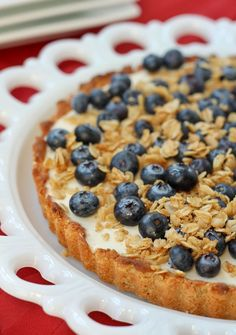 The pairing of flavorful oats and creamy yogurt make this yogurt tart a show-stopper. Topped with fresh fruit, you have a winning dessert. Get the easy and gorgeous recipe on RachelCooks.com!