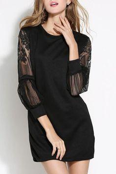 Elegant Black Round Collar Lace Spliced Long Sleeve Dress