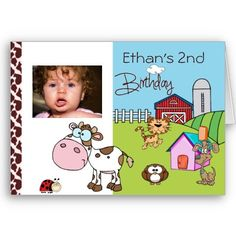 Cute Animal, Children's, Photo, Birthday Party Invitation. cow, puppy, lady bug, kitty cat, farm animals